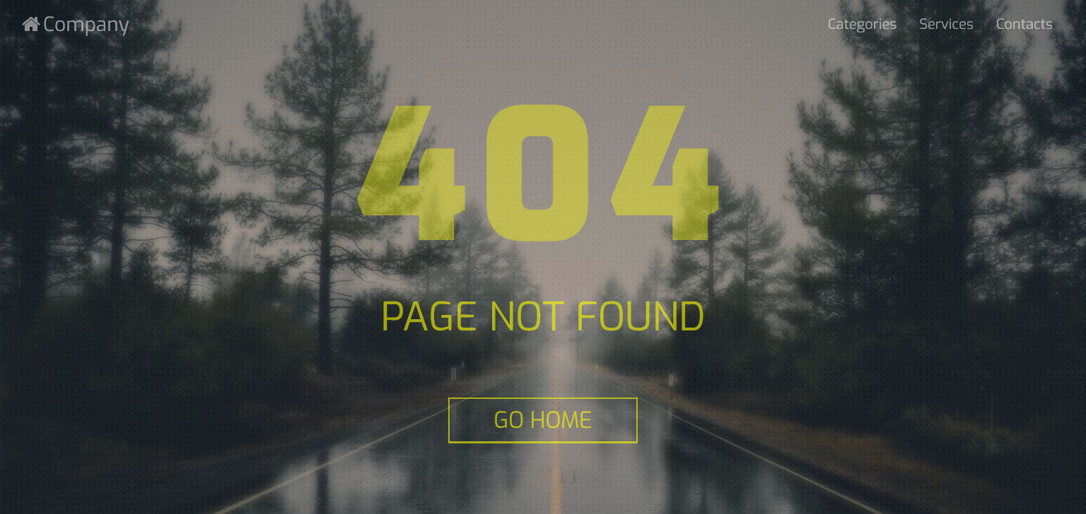 Road to 404 - Responsive Design Page Not Found Error Template