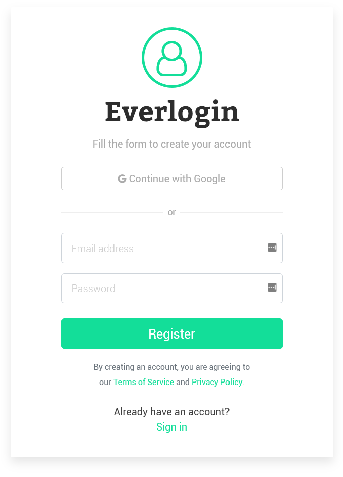 Everlogin - Responsive Login Form Bootstrap Based Template 2