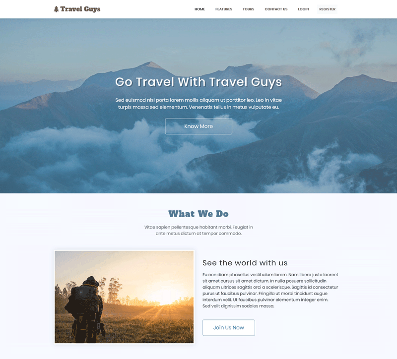 Travel Guys - Responsive Bootstrap Template Screen 1