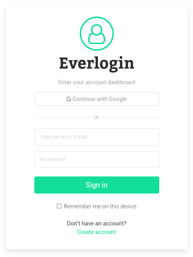 Everlogin - Responsive Login Form Bootstrap Based Template 1